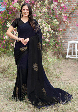 Golden Printed Chiffon Saree in Navy Blue and Black Ombre