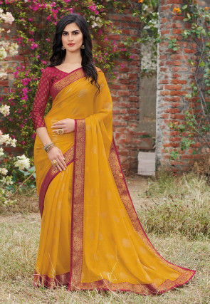 Golden Printed Chiffon Saree in Orange