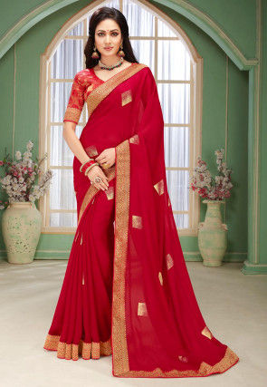 Golden Printed Chiffon Saree in Red