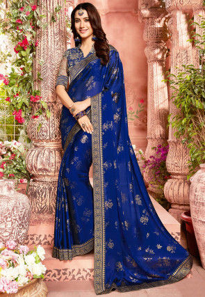 Golden Printed Chiffon Saree in Royal Blue