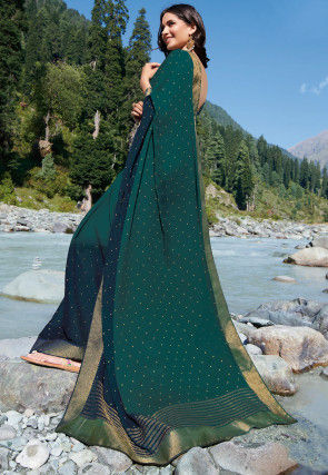 Golden Printed Chiffon Saree in Shaded Teal Green and Blue