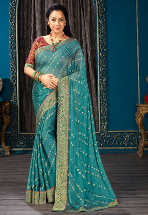 Golden Printed Chiffon Saree in Teal Blue