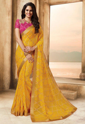 Golden Printed Chiffon Saree in Yellow