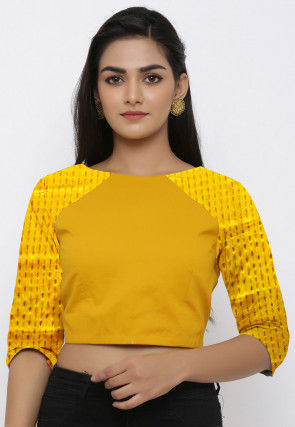 Golden Printed Chinon Crepe Blouse in Yellow