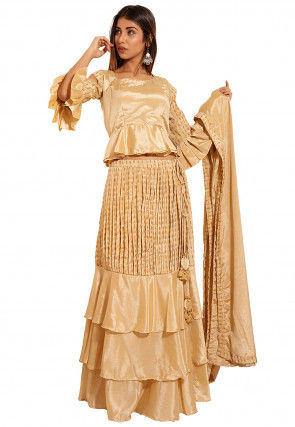 Golden Printed Chinon Crepe Lehenga in Beige