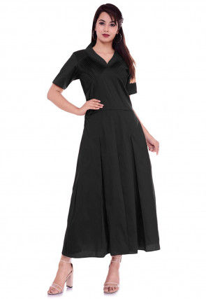 Golden Printed Collar Dupion Silk A Line Dress in Black