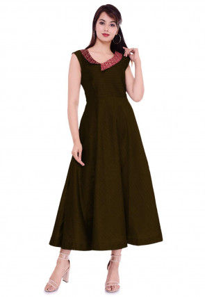 Golden Printed Collar Dupion Silk A Line Dress in Dark Olive Green