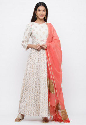 Golden Printed Cotton Abaya Style Suit in Off White and Peach