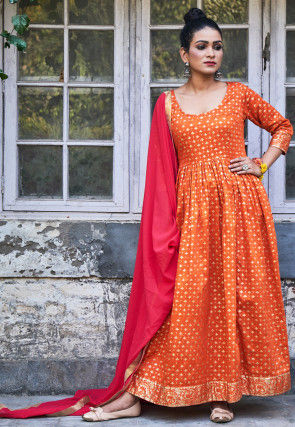 Golden Printed Cotton Abaya Style Suit in Orange