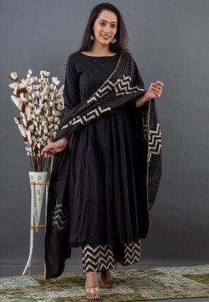 Golden Printed Cotton Anarkali Suit in Black