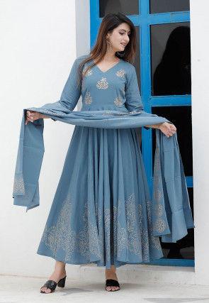 Golden Printed Cotton Anarkali Suit in Dusty Blue