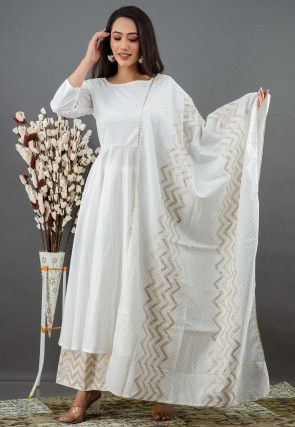 Golden Printed Cotton Anarkali Suit in Off White