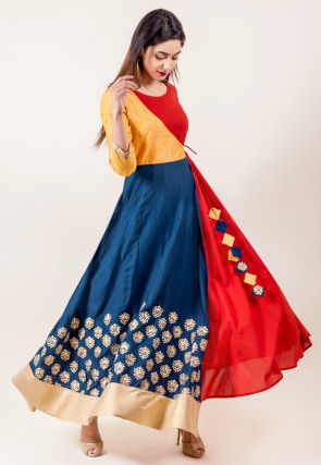 Golden Printed Cotton Angrakha Kurta in Navy Blue and Red