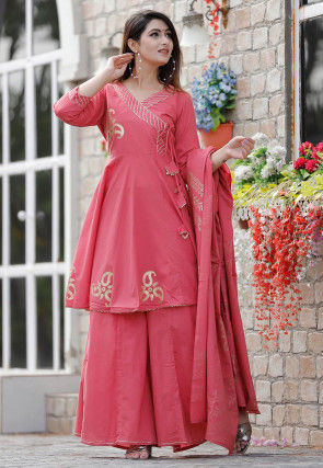 Golden Printed Cotton Angrakha Style Pakistani Suit in Pink