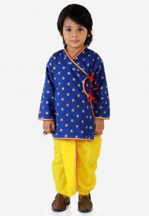 Golden Printed Cotton Dhoti Kurta in Royal Blue
