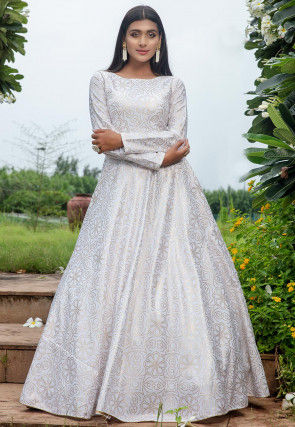 Golden Printed Cotton Flared Gown in Off White