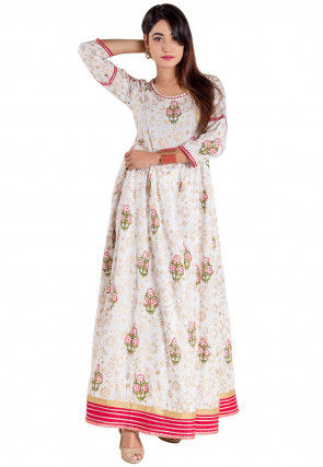 Golden Printed Cotton Flared Kurta in White