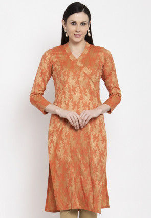 Golden Printed Cotton Kurta in Orange
