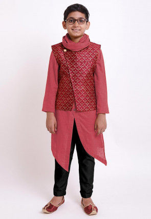Golden Printed Cotton Kurta Jacket Set in Dark Peach