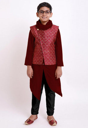 Golden Printed Cotton Kurta Jacket Set in Maroon