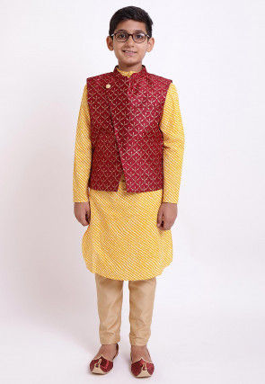 Golden Printed Cotton Kurta Jacket Set in Mustard and Maroon
