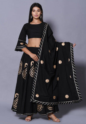 Golden Printed Cotton Lehenga in Black