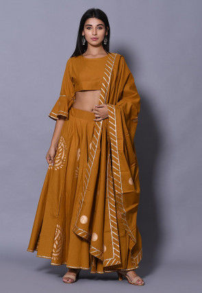 Golden Printed Cotton Lehenga in Dark Mustard