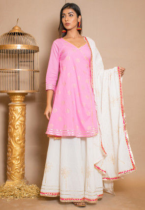 Golden Printed Cotton Lehenga in Pink