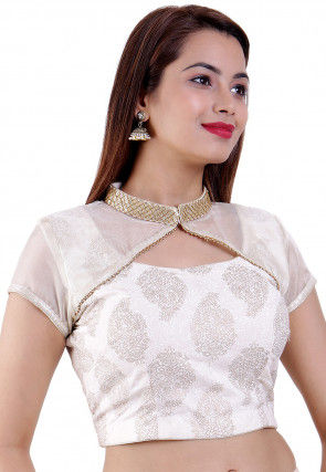 Golden Printed Cotton Padded Blouse in Off White