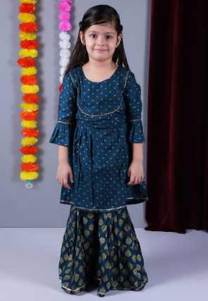Golden Printed Cotton Pakistani Suit in Dark Blue