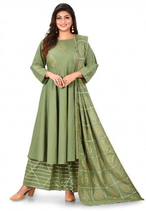 Golden Printed Cotton Pakistani Suit in  Dusty Green