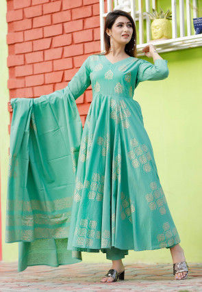 Golden Printed Cotton Pakistani Suit in Light Teal Blue