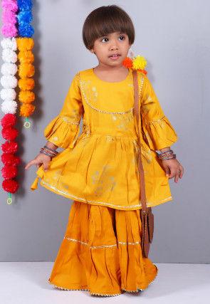 Golden Printed Cotton Pakistani Suit in Mustard