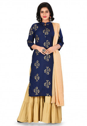 Golden Printed Cotton Pakistani Suit in Navy Blue