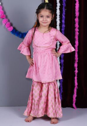 Golden Printed Cotton Pakistani Suit in Pink