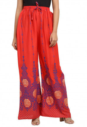 Golden Printed Cotton Palazzo in Red