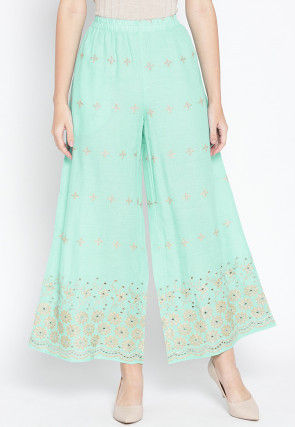 Golden Printed Cotton Palazzo in Sea Green