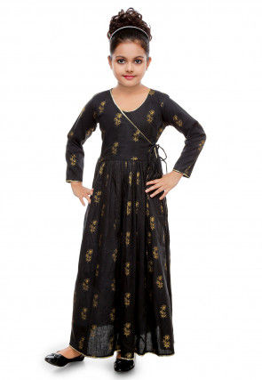 Golden Printed Cotton Rayon Angrakha Style Gown in Black