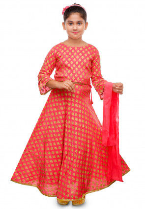 Golden Printed Cotton Rayon Lehenga in Pink