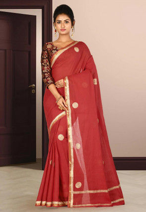 Golden Printed Cotton Saree in Red