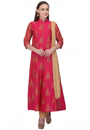 Golden Printed Cotton Silk A Line Suit in Fuchsia