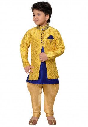 Golden Printed Cotton Silk Kurta Jacket Set in Royal Blue and Yellow