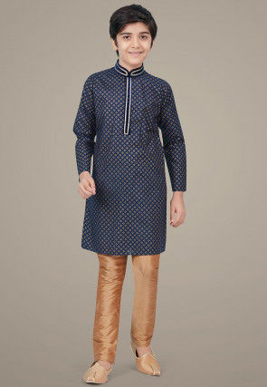 Golden Printed Cotton Silk Kurta Set in Navy Blue