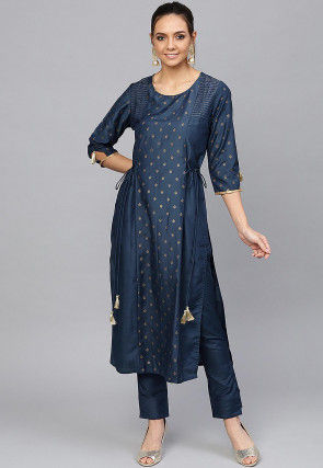 Golden Printed Cotton Silk Pakistani Suit in Dark Blue