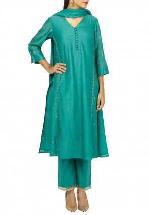 Golden Printed Cotton Silk Pakistani Suit in Teal Blue