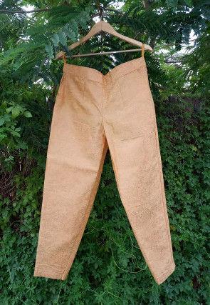 Golden Printed Cotton Silk Pant in Mustard