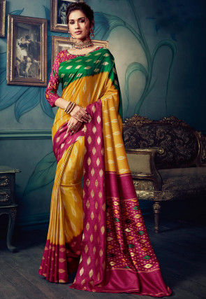 Golden Printed Cotton Silk Saree in Mustard and Multicolor