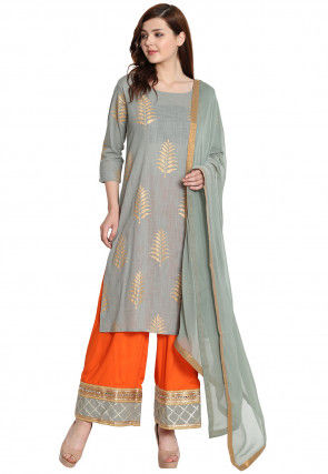 Golden Printed Cotton Slub Pakistani Suit in Grey