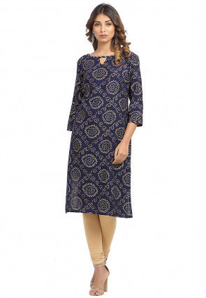 Golden Printed Cotton Straight Kurta in Navy Blue