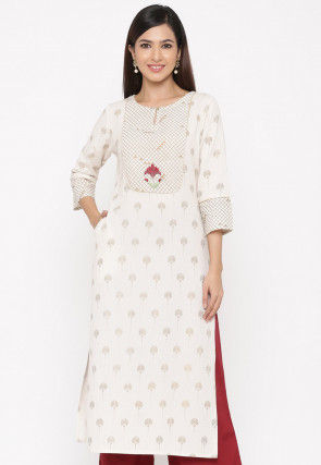 Golden Printed Cotton Straight Kurta in Off White